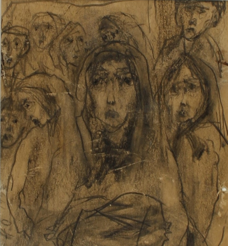 CM_2001.122.7 front Autobiographical drawing by Halina Olomucki of a woman receiving a parcel in the Warsaw ghetto