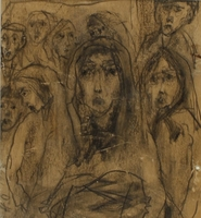 CM_2001.122.7 front Autobiographical drawing by Halina Olomucki of a woman receiving a parcel in the Warsaw ghetto  Click to enlarge