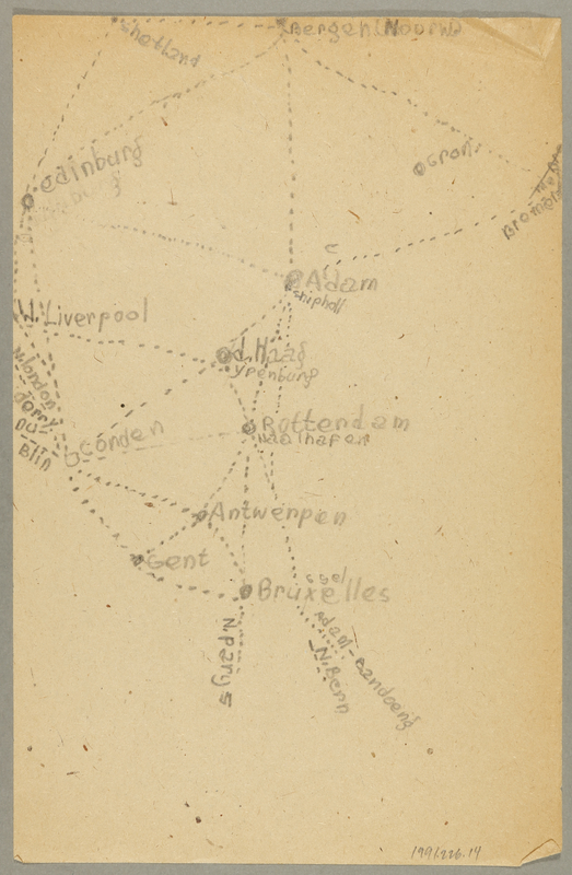 1991.226.14 back Map created by a Dutch Jewish boy while living in hiding