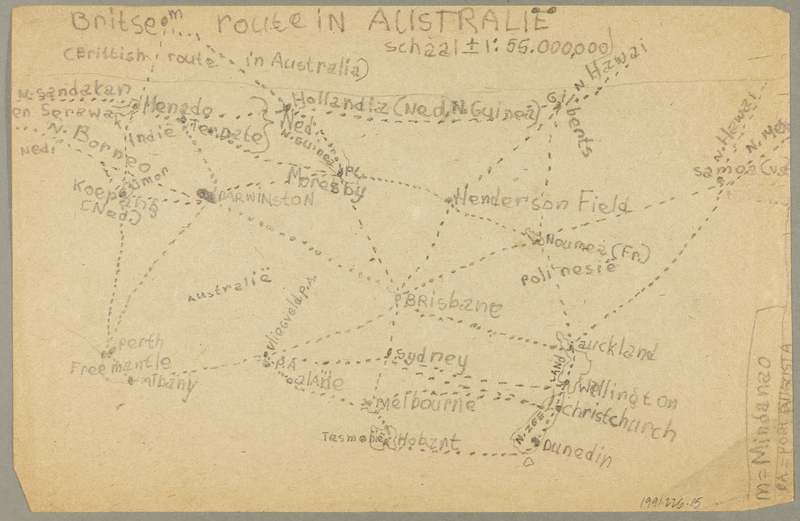 1991.226.15 back Map created by a Dutch Jewish boy while living in hiding
