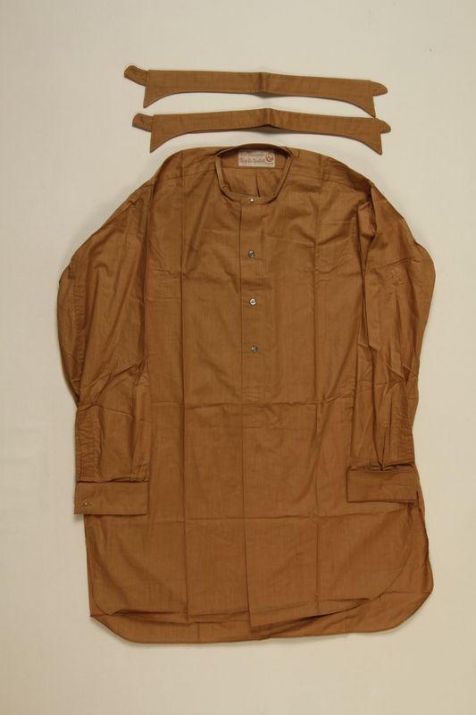2001.204.5_a-c front SA (Sturmabteilungen/ Storm Division) brown uniform shirt with 2 detachable collars