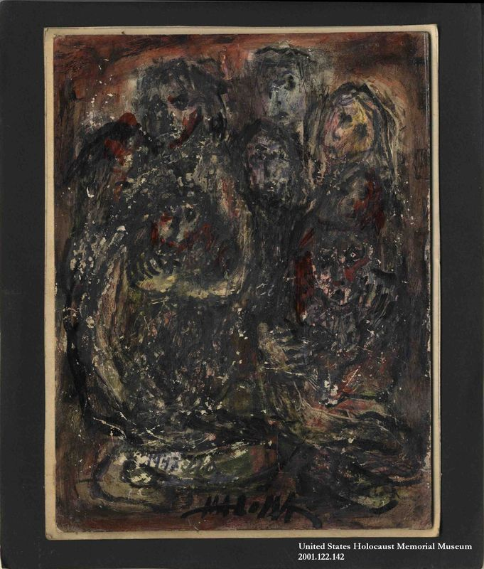 Autobiographical drawing by Halina Olomucki of a group of people crowded into a small space