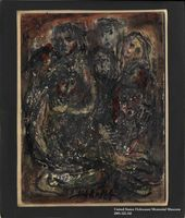 Autobiographical drawing by Halina Olomucki of a group of people crowded into a small space  Click to enlarge