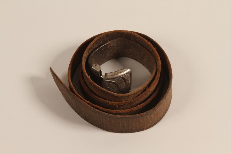 2002.52.2 front Brown leather belt worn by a rescued German Jewish boy
