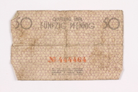 2002.58.1 back Łódź ghetto scrip, 50 pfennig note  Click to enlarge