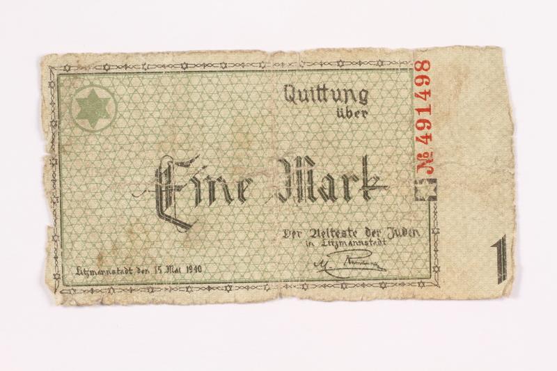 2002.58.2 back Łódź (Litzmannstadt) ghetto scrip, 1 mark note