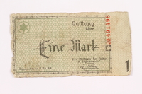 2002.58.2 back Łódź (Litzmannstadt) ghetto scrip, 1 mark note  Click to enlarge