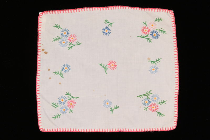 2001.273.4 front Handmade embroidered doily