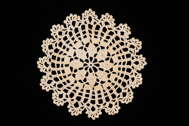 2002.240.1 front Doily crocheted by a women killed in a concentration camp