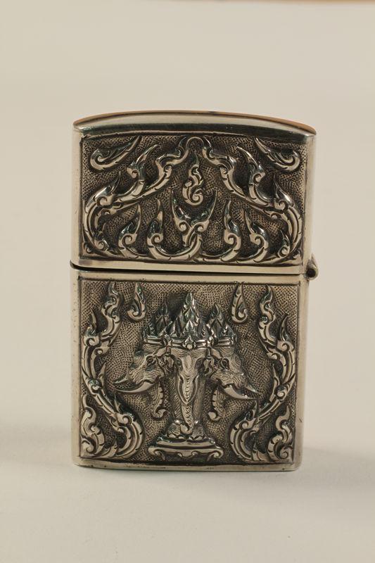 2001.289.3 back Three-headed elephant sterling silver matchbox