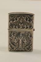 2001.289.3 back Three-headed elephant sterling silver matchbox  Click to enlarge