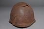 Damaged Soviet Army Ssh40 combat helmet recovered postwar in Latvia
