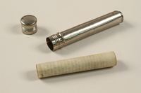 2002.140.3 open Tubular silver mezuzah saved with a hidden Dutch Jewish infant  Click to enlarge