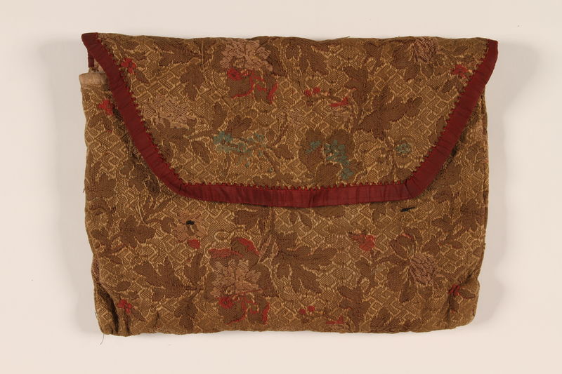 2002.140.6 front Floral silk brocade tallit pouch saved with a hidden Dutch Jewish infant