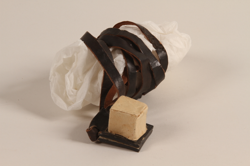 2002.140.9 a front Pair of tefillin with batim covers saved with a hidden Dutch Jewish infant