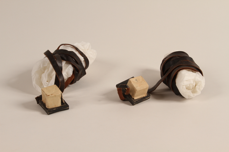 2002.140.9 a-b front Pair of tefillin with batim covers saved with a hidden Dutch Jewish infant