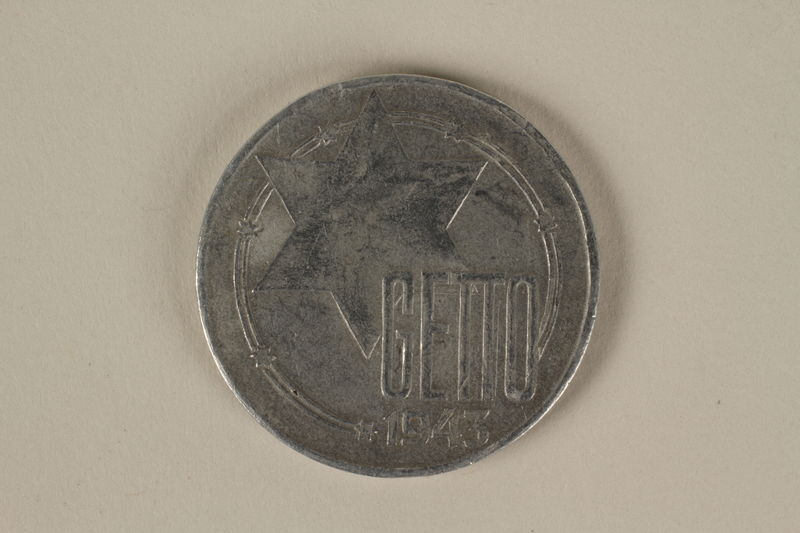 2002.221.2 back Łódź (Litzmannstadt) ghetto scrip, 20 mark coin