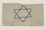 Armband with an embroidered blue Star of David worn in the Bobrka ghetto