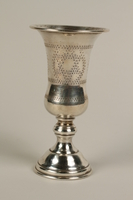 2002.250.2 front Silver, engraved kiddush cup used by German Jewish refugees in Shanghai  Click to enlarge