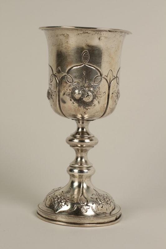 2002.250.4 front Silver, engraved kiddush cup used by German Jewish refugees in Shanghai