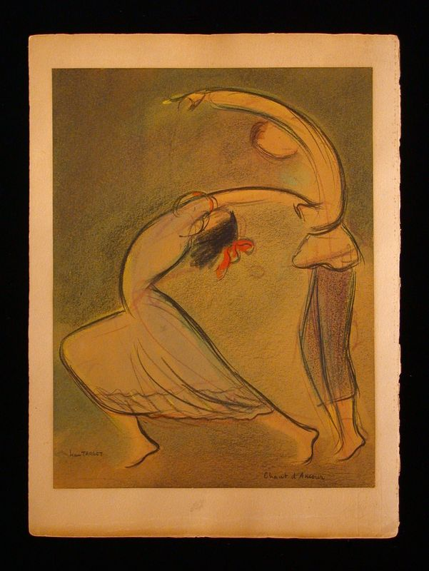 Abstract pastel of a male and female dancer
