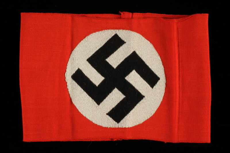 2000.495.1 front Nazi Party armband with swastika