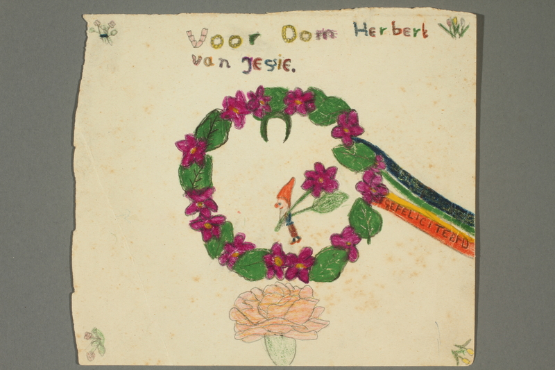 2002.299.13 front Crayon drawing of a green leaved wreath with purple flowers made by a young girl while living in hiding