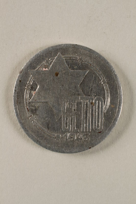 2002.49.4 front Łódź (Litzmannstadt) ghetto scrip, 10 mark coin