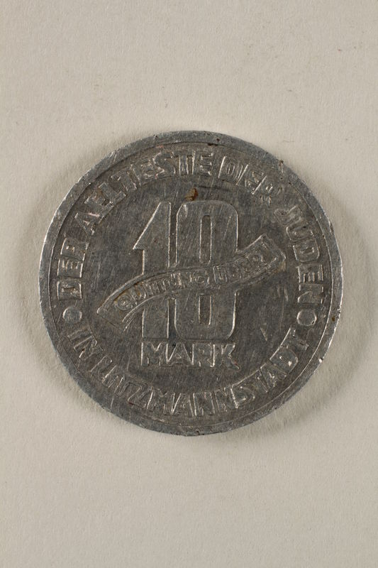 2002.49.4 back Łódź (Litzmannstadt) ghetto scrip, 10 mark coin
