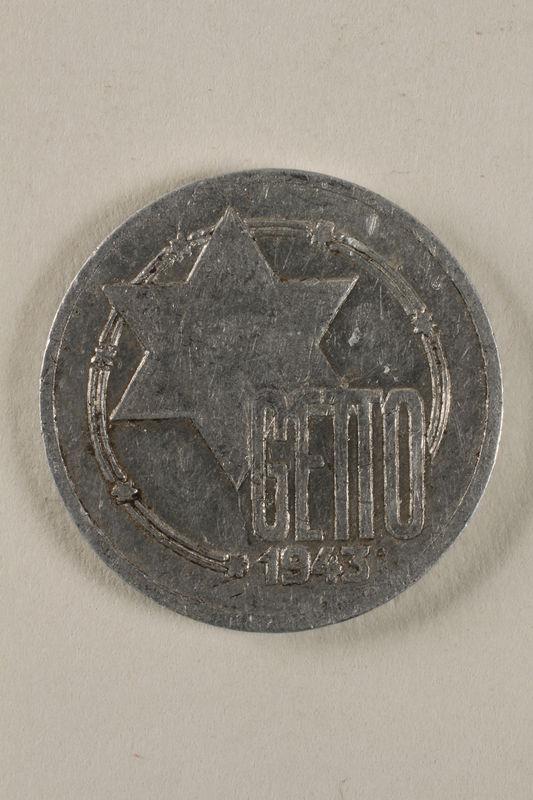 1998.155.2 front Łódź (Litzmannstadt) ghetto scrip, 10 mark coin
