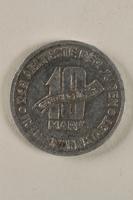 1998.155.2 back Łódź (Litzmannstadt) ghetto scrip, 10 mark coin  Click to enlarge