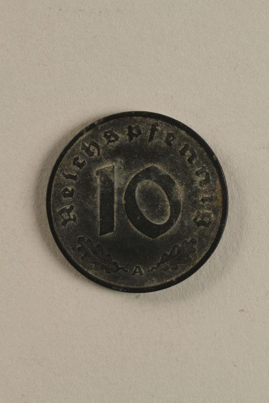 2003.33.1 back Nazi Germany, 10 reichspfennig coin