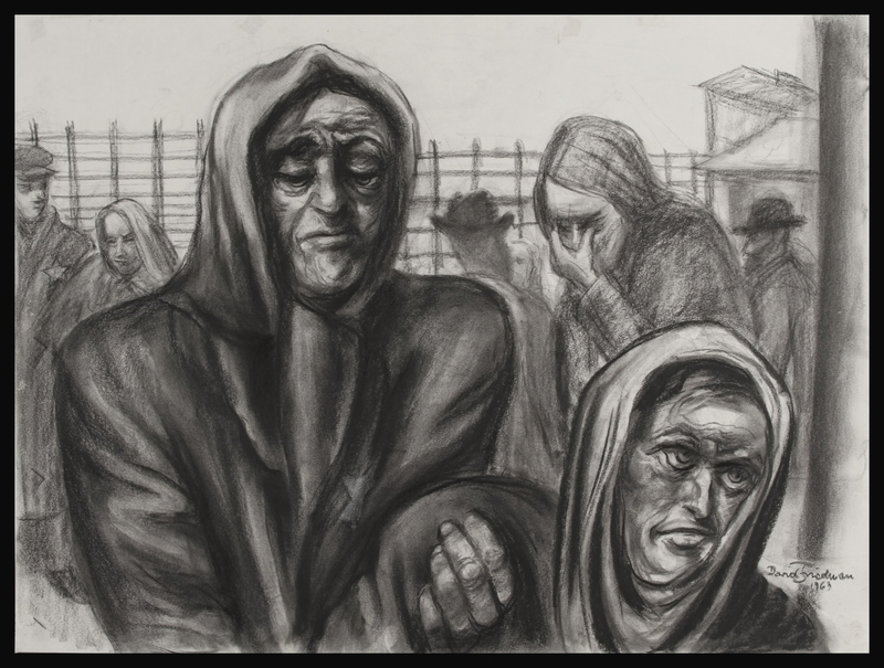 1987.114.1 front Autobiographical charcoal drawing by David Friedman of a mother helping her sick son in a concentration camp