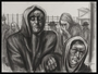 Autobiographical charcoal drawing by David Friedman of a mother helping her sick son in a concentration camp