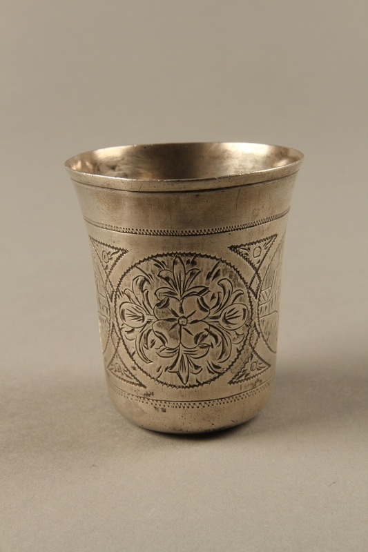 2003.41.1 right Silver kiddush cup with scenes of Lublin entrusted to a Gentile neighbor