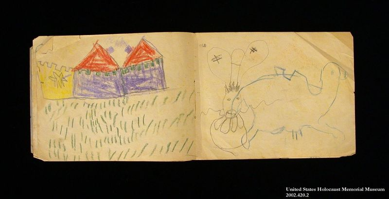 Sketchbook with make believe drawings by a former hidden child