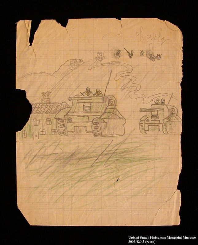 Double-sided drawing of tanks and a windmill by a hidden child