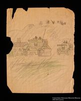 Double-sided drawing of tanks and a windmill by a hidden child  Click to enlarge