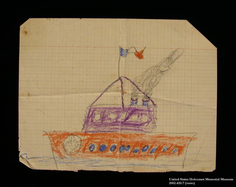 Double-sided drawing of a man and a French battleship created by a hidden child