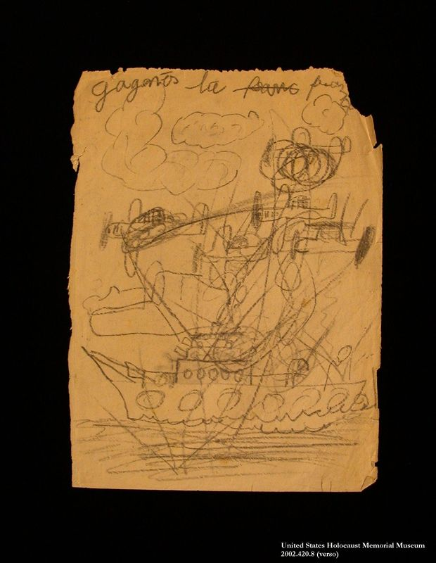Double-sided drawing of battle scenes imagined by a hidden child