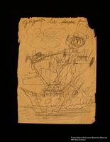 Double-sided drawing of battle scenes imagined by a hidden child  Click to enlarge