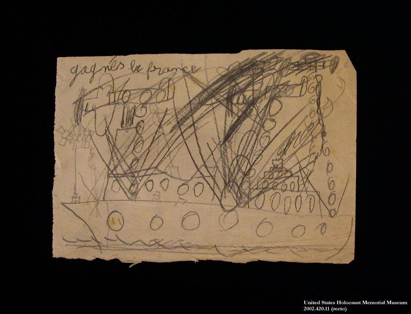 Double-sided drawing created by a hidden child