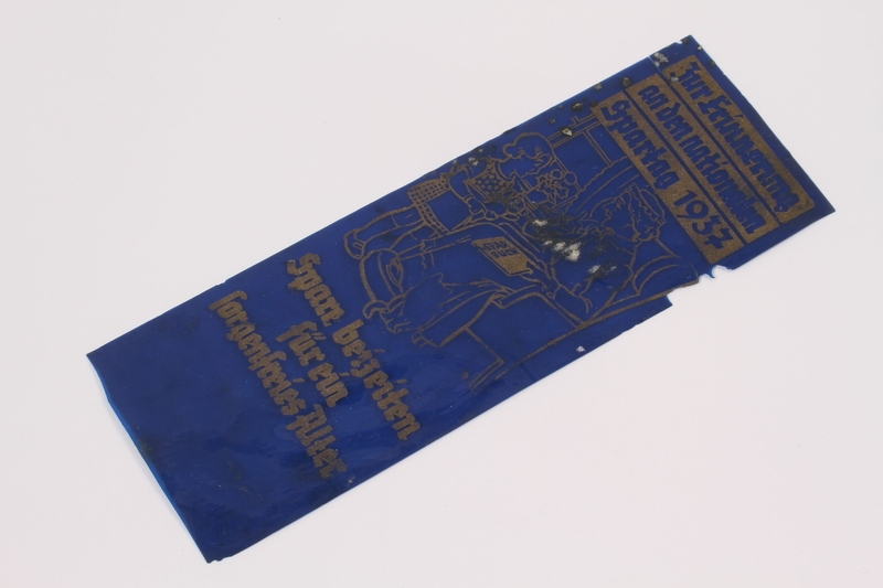 2000.502.7 front Bookmark used by a passenger on the MS St Louis