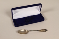 2003.88.1_a-b front Reproduction of a spoon and box smuggled out of Warsaw ghetto with an infant  Click to enlarge