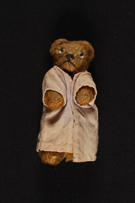 2002.441.5 front Refugee, a honey brown teddy bear with a pink robe, owned by a young Jewish girl who had lived in hiding as a Catholic