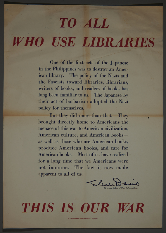 2002.458.1 front US propaganda poster denouncing Japanese bombing of library