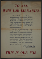 2002.458.1 front US propaganda poster denouncing Japanese bombing of library  Click to enlarge