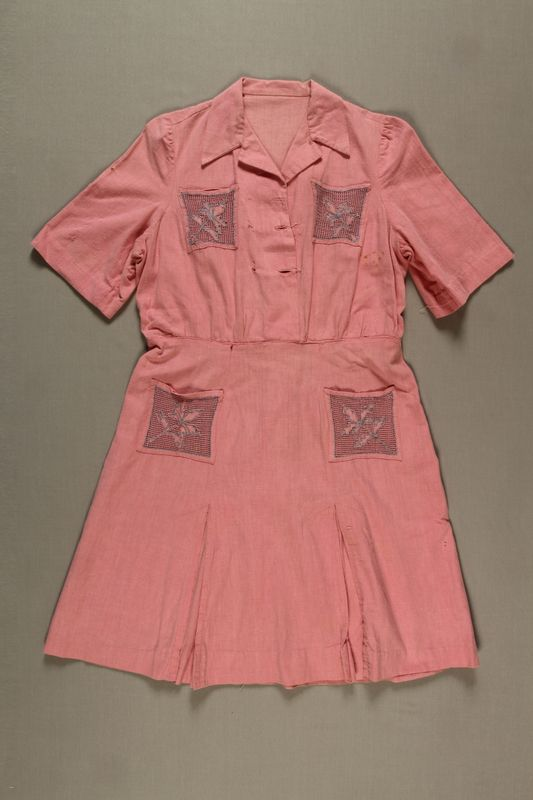 2003.144.2 front Pink embroidered dress made from flour sacks in Athens after liberation
