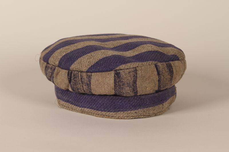 2003.174.2 front Concentration camp uniform cap worn by a Jewish Latvian prisoner