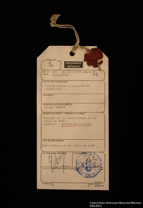 Klaus Barbie trial evidence removal tag